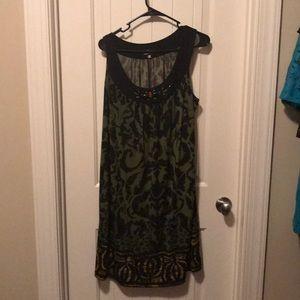 Multi color olive and black mini sleeveless Dress